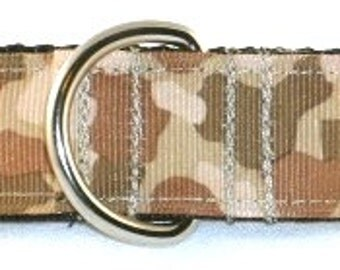 1 inch tan camouflage greyhound martingale dog collar, desert, military, hunting, uniform--Camo-Tan