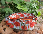 Orange Poppy Flower Martingale Dog Collar (med)