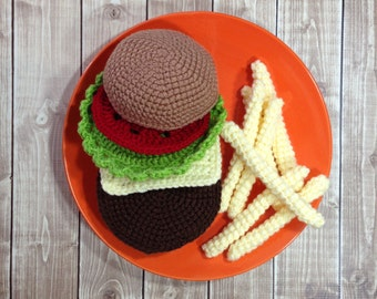 Cheeseburger and French Fries Plush Play Food, Crocheted Pretend Play Food