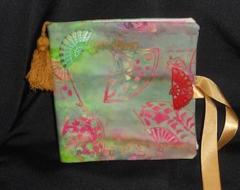 Fan themed batik needle case, pink and green batik needle case, Oriental inspired