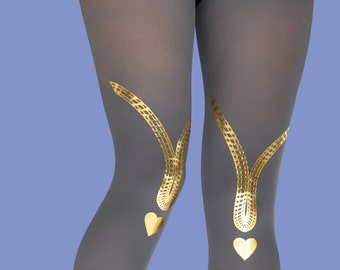 Heart shape gold printed opaque gray tights, Love Song, available in S-M, L-XL