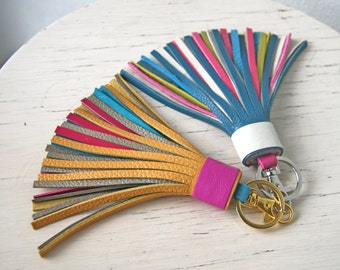 Colorful Leather tassel Fringe Keychain  Key chain Bag charm Bridesmaid Gift Multicolor