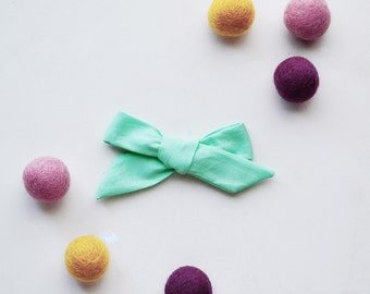 Mint Green Hand-tied Simple Fabric Bow Nylon Elastic or Alligator Clip