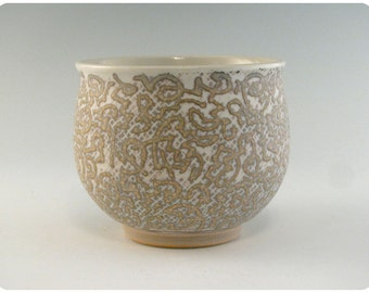 Etched Porcelain Bowl With Calligraphic Design