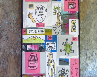Outsider Folk Art Mixed Media Collage
