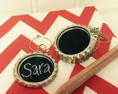 6 Chalkboard Wine Charms - Drink Charms, Hostess Gift, Corporate Event, Personalized Wine Charms and 1 CHALK PENCIL