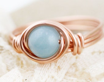 Confidence - amazonite wire wrapped ring (A) (SR)