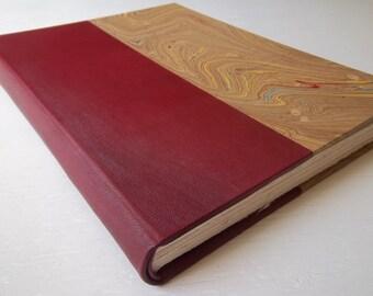 Heirloom Sketchbook, Burgundy Leather Spine, Gold Marbled Paper, Fine Art Papers, Archival European Case-Binding