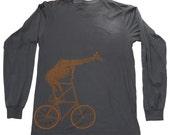 Giraffe on a bicycle- Mens Long sleeve Shirt, Unisex Tee, Cotton Tee, Handmade graphic tee, Bicycle shirt, Bike Tee, sizes xs-xxl