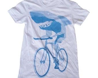 Womens shark on BIKE T-Shirt american apparel S M L Xl (White)