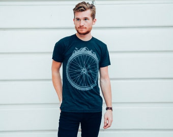 Bicycle Wheel and Mountains - Mens T Shirt, Unisex Tee, Tri Blend Tee, Handmade graphic tee, sizes xs-xxl