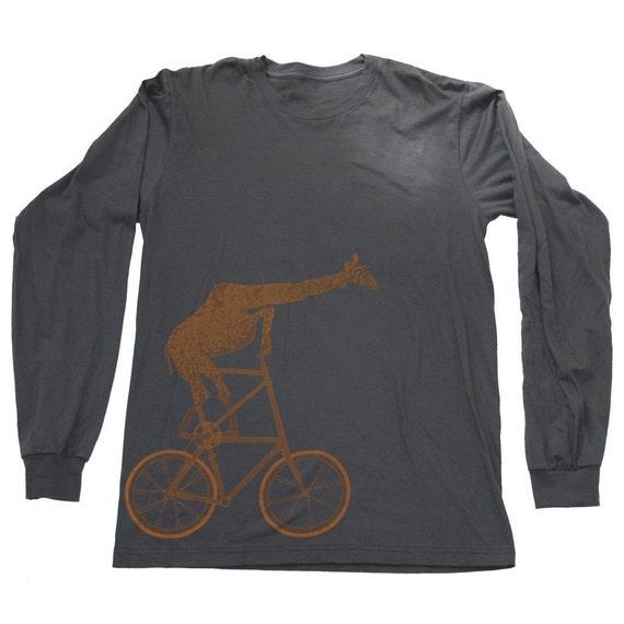 mens GIRAFFE BICYCLE american apparel LONGSLEEVE tee t shirt S M L xl xxl