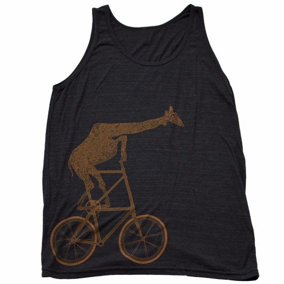 Giraffe on a bicycle- Mens Tank top, Unisex Tank top, Tri Blend Tank, Handmade graphic tee, sizes xs-xxl