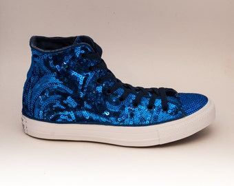 Sequin | Sapphire Blue Swirl Curl Pattern on All White Canvas  with Rhinestone Toes Hi Top Sneakers Shoes