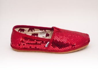 Sequin | Red Alpargata Canvas Classics Slip On Shoes