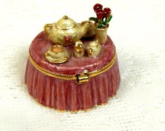 "Vintage Monet "" Tea Party""  Pill or Tricket Box"
