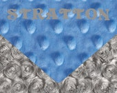 Minky Baby Blanket, Personalized Silver Rose Swirl & Sky Blue Stroller