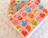 Owl Girl Burp Cloths, Pink Green Yellow Flowers - set of 2