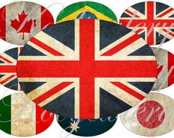 Grunge flags images large oval for belt buckle and more digital collage sheet No.1529