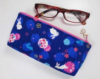 Sakura & Bunny Eyeglass Case / Zipper Pouch - Indigo