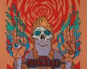 Black Sabbath Wizard Art Print (Orange Version)
