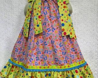 Girls Dress 2T/3T Beach Flip Flops Ice Cream Cones Dots Yellow and Pink Boutique Pillowcase Dress Pillow Case Dress Sundress