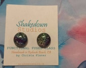 RAINBOWS & GLITTER Fused Dichroic Glass Earrings