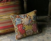 Needlepoint Pillow Floral With Velvet Back Vintage From NowVintage on Etsy