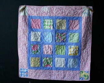 Vintage Quilt Childs Hand Made Baby Blanket Pink Blue Yellow Green 33 X 33 Cotton from Nowvintage on Etsy