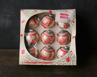 Christmas Bulbs From 1980s Santa Clause Vintage and Mrs Santa Clause Shine Brite Brand From Nowvintage on Etsy