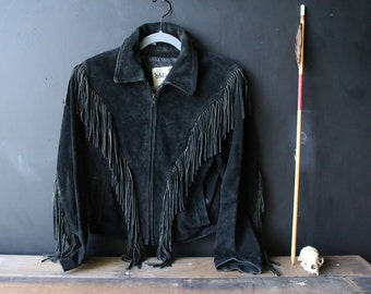 Bohemian Leather Jacket With Fringe Willsons Brand Zip Front Size Small From Nowvintage on Etsy