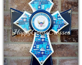 Wall Cross - Wood Cross - Military - X-Small - United States NAVY (can be made in any branch)