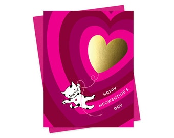 Meowentine - Valentine's Day Card - Solid gold foil-stamped love card - Valentine - Cat Lover - OC1535