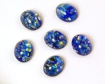 Czech Glass Blue Opal Cabochons 10x8mm - 6