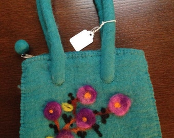 Flowered felted purse -free shipping