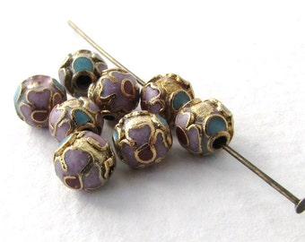 Vintage Cloisonne Beads Gold Enamel Pink Flower Blue Red Green Round 6mm vgb0923 (6)