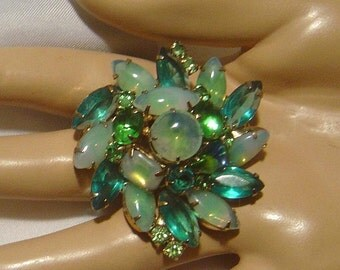 Vintage green navette and faux moonstone Brooch pin So Pretty!