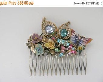 SALE Pastel Jewels Flower  Vintage Assemblage Hair Comb