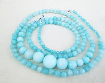 Aqua Light Blue Long Beaded Necklace Amazonite Aquamarine