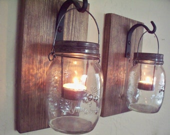 Rustic candle holders. Wall Decor set of 2 mason jar candle holders on wood boards. Home decor. Bedroom decor.