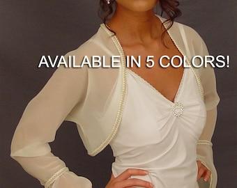 Chiffon bridal bolero jacket wedding shrug bell sleeve trimmed CBA205 AVAILABLE IN 5 COLORS white, ivory, champagne, navy blue, black