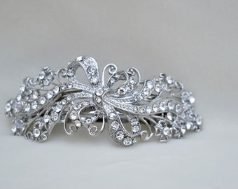 Rhinestone Hair Clip / Barrette / Bridal Hair Clip / Special Occasion Hair Clip / Victorian Inspired