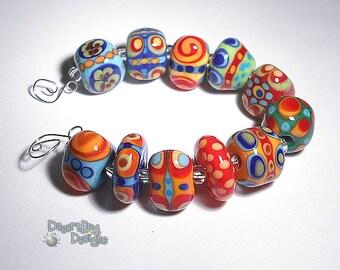CRAZY WAYS Lampwork Beads Handmade Red Yellow Green Blue OrangeShaped  Beads Set fo 11
