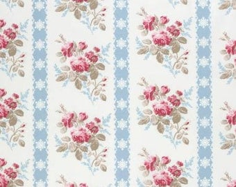 NEW Winters Garden from Tanya Whelan Ticking Floral in Blue 1 yard