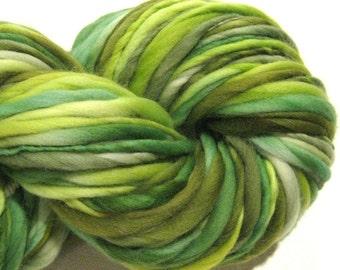 Handspun Yarn Froggy 122 yards hand dyed merino wool green yarn chartreuse emerald waldorf doll hair knitting supplies crochet supplies