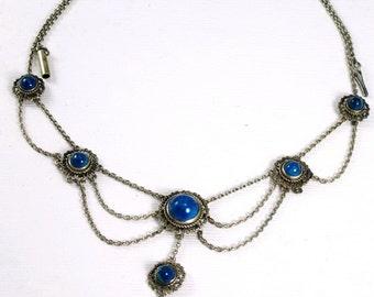 Sterling, Lapis, Turquoise Festoon Necklace, Edwardian 1910-20, Negligee Style