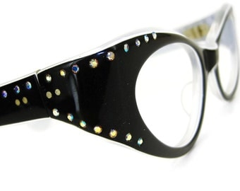 Vintage Rhinestone Cat eye Glasses Eyeglasses or Sunglasses Frame Bling NOS