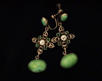 Vintage Art Deco Green Peking Glass Brass Filigree Screw Back Earrings