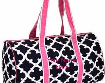 Duffle Bag Personalized Navy Quatrefoil with Hot Pink Accent Quilted