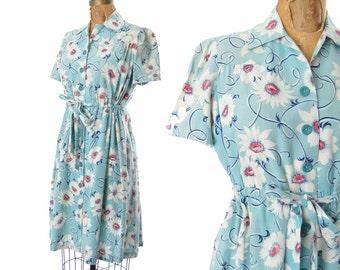 "1930s dress / blue floral cotton dress / maternity dress / 30s dress .. 42"" bust"